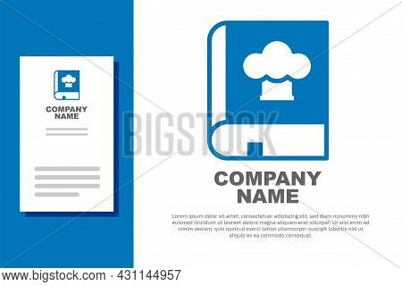 Blue Cookbook Icon Isolated On White Background. Cooking Book Icon. Recipe Book. Fork And Knife Icon