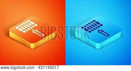 Isometric Barbecue Steel Grid Icon Isolated On Orange And Blue Background. Top View Of Bbq Grill. Wi