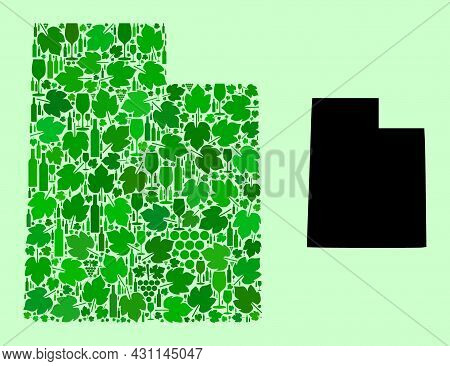 Vector Map Of Utah State. Mosaic Of Green Grape Leaves, Wine Bottles. Map Of Utah State Mosaic Compo