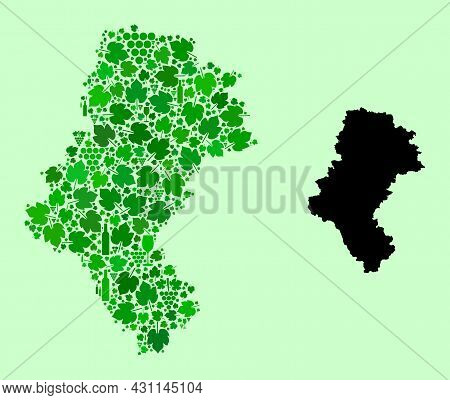 Vector Map Of Silesia Province. Mosaic Of Green Grape Leaves, Wine Bottles. Map Of Silesia Province