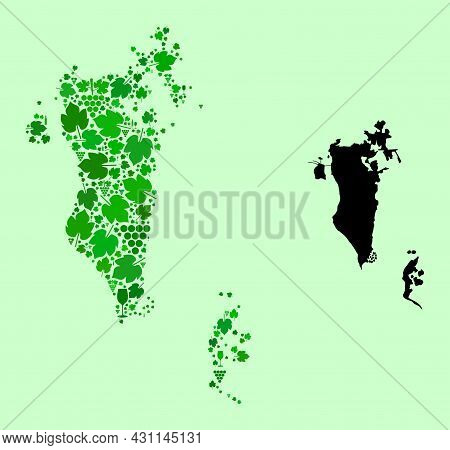 Vector Map Of Bahrain. Collage Of Green Grapes, Wine Bottles. Map Of Bahrain Collage Designed With B