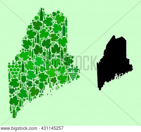 Vector Map Of Maine State. Collage Of Green Grape Leaves, Wine Bottles. Map Of Maine State Collage C