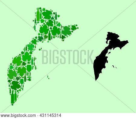 Vector Map Of Kamchatka Peninsula. Collage Of Green Grape Leaves, Wine Bottles. Map Of Kamchatka Pen