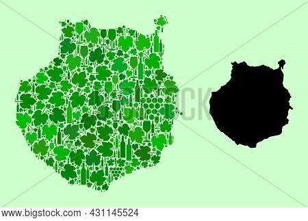 Vector Map Of Gran Canaria. Collage Of Green Grapes, Wine Bottles. Map Of Gran Canaria Collage Compo