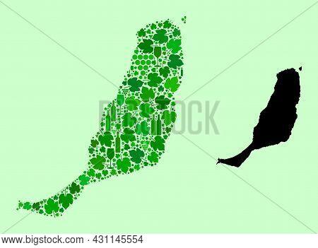 Vector Map Of Fuerteventura Island. Collage Of Green Grape Leaves, Wine Bottles. Map Of Fuerteventur