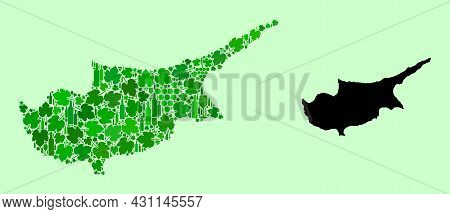 Vector Map Of Cyprus Island. Collage Of Green Grapes, Wine Bottles. Map Of Cyprus Island Mosaic Desi