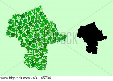 Vector Map Of Mazovia Province. Mosaic Of Green Grape Leaves, Wine Bottles. Map Of Mazovia Province