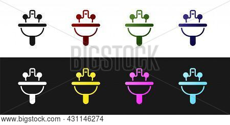 Set Washbasin With Water Tap Icon Isolated On Black And White Background. Vector