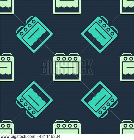 Green And Beige Oven Icon Isolated Seamless Pattern On Blue Background. Stove Gas Oven Sign. Vector