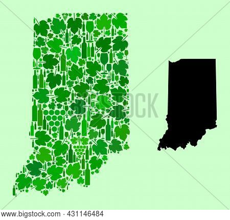 Vector Map Of Indiana State. Collage Of Green Grape Leaves, Wine Bottles. Map Of Indiana State Colla