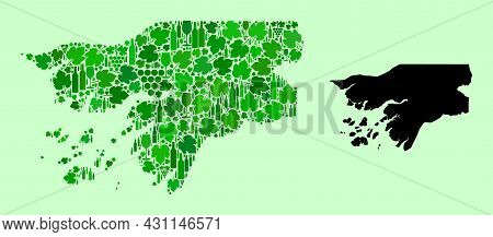 Vector Map Of Guinea-bissau. Mosaic Of Green Grapes, Wine Bottles. Map Of Guinea-bissau Mosaic Compo