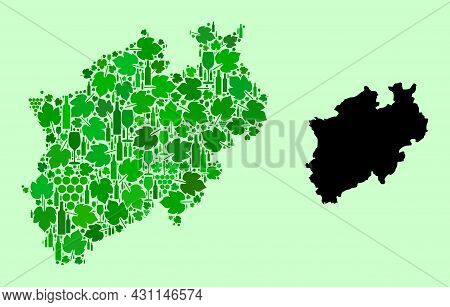 Vector Map Of North Rhine-westphalia State. Composition Of Green Grape Leaves, Wine Bottles. Map Of