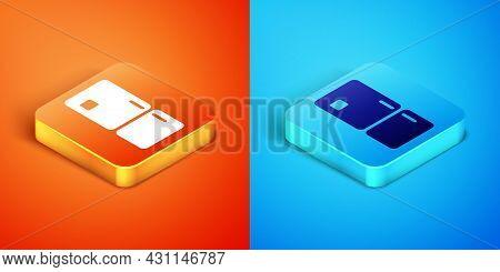 Isometric Refrigerator Icon Isolated On Orange And Blue Background. Fridge Freezer Refrigerator. Hou
