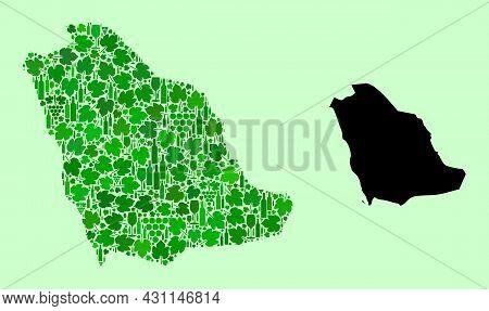 Vector Map Of Saudi Arabia. Collage Of Green Grape Leaves, Wine Bottles. Map Of Saudi Arabia Collage