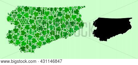 Vector Map Of Warmia-masuria Province. Combination Of Green Grape Leaves, Wine Bottles. Map Of Warmi