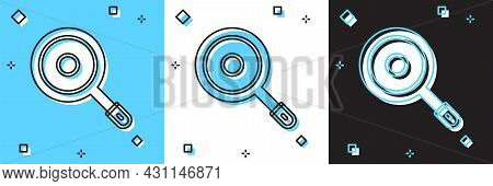 Set Frying Pan Icon Isolated On Blue And White, Black Background. Fry Or Roast Food Symbol. Vector
