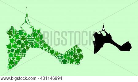 Vector Map Of Formentera Island. Mosaic Of Green Grapes, Wine Bottles. Map Of Formentera Island Mosa