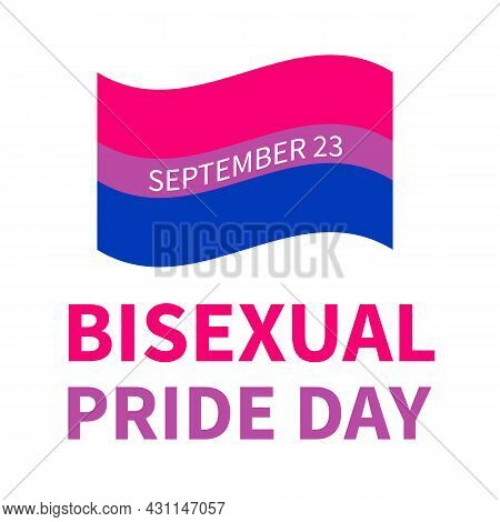 Bisexuality Pride Day Typography Poster. Lgbt Community Event Celebrate On September 23. Vector Temp