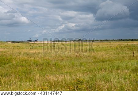 Knokke-heist, Flanders, Belgium - August 6, 2021: Zwin Nature Reserve. Approaching Rain Storm Clouds
