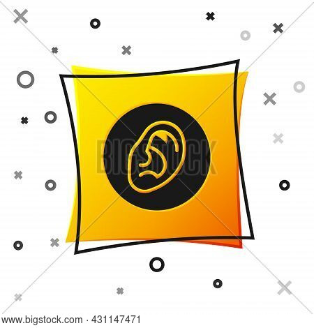 Black Ear Listen Sound Signal Icon Isolated On White Background. Ear Hearing. Yellow Square Button.
