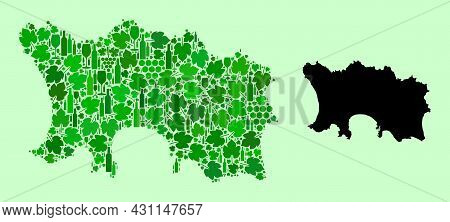 Vector Map Of Jersey Island. Mosaic Of Green Grape Leaves, Wine Bottles. Map Of Jersey Island Mosaic