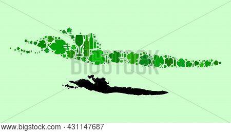 Vector Map Of Hvar Island. Mosaic Of Green Grape Leaves, Wine Bottles. Map Of Hvar Island Mosaic Des