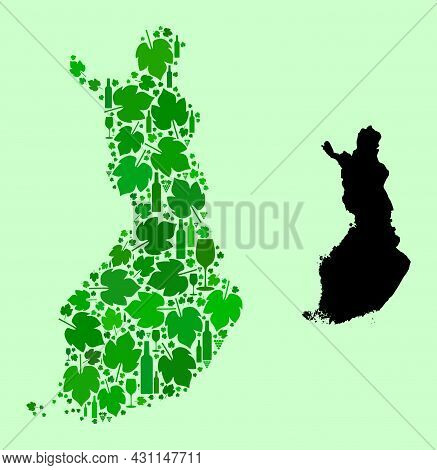 Vector Map Of Finland. Combination Of Green Grape Leaves, Wine Bottles. Map Of Finland Mosaic Design