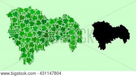 Vector Map Of Guadalajara Province. Mosaic Of Green Grapes, Wine Bottles. Map Of Guadalajara Provinc