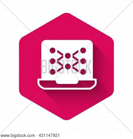 White Neural Network Icon Isolated With Long Shadow Background. Artificial Intelligence Ai. Pink Hex