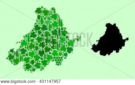 Vector Map Of Avila Province. Composition Of Green Grapes, Wine Bottles. Map Of Avila Province Colla