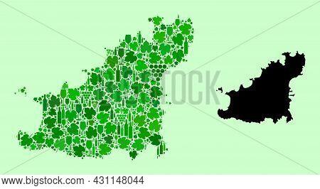 Vector Map Of Guernsey Island. Mosaic Of Green Grapes, Wine Bottles. Map Of Guernsey Island Mosaic D
