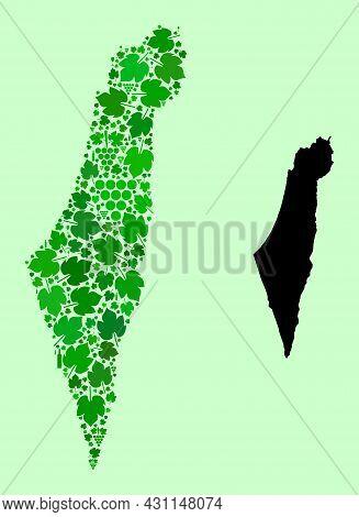 Vector Map Of Israel. Mosaic Of Green Grapes, Wine Bottles. Map Of Israel Mosaic Created With Bottle