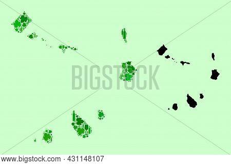 Vector Map Of Cape Verde Islands. Mosaic Of Green Grape Leaves, Wine Bottles. Map Of Cape Verde Isla