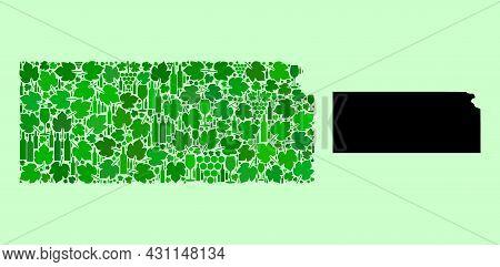 Vector Map Of Kansas State. Collage Of Green Grapes, Wine Bottles. Map Of Kansas State Mosaic Create