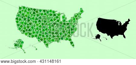 Vector Map Of Usa Territories. Mosaic Of Green Grapes, Wine Bottles. Map Of Usa Territories Mosaic D