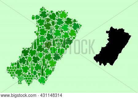 Vector Map Of Castellon Province. Mosaic Of Green Grapes, Wine Bottles. Map Of Castellon Province Mo