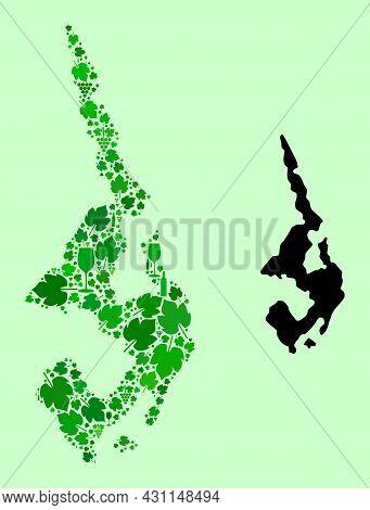 Vector Map Of Koh Phi Leh. Collage Of Green Grape Leaves, Wine Bottles. Map Of Koh Phi Leh Mosaic De