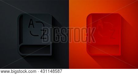 Paper Cut Translator Book Icon Isolated On Black And Red Background. Foreign Language Conversation I