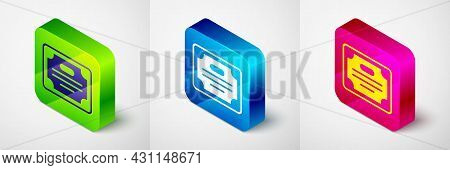 Isometric Certificate Template Icon Isolated On Grey Background. Achievement, Award, Degree, Grant,