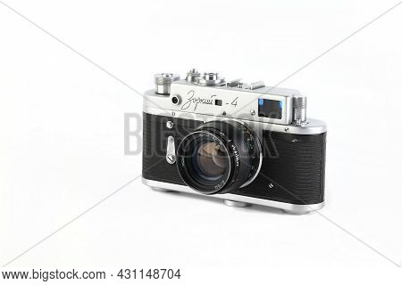 Moscow, Russia, August 28, 2021. Old Soviet Rangefinder Camera Zorki 4 Produced From 1971 To 1956 On