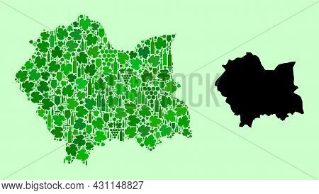 Vector Map Of Lesser Poland Province. Combination Of Green Grape Leaves, Wine Bottles. Map Of Lesser