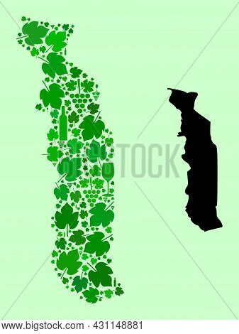 Vector Map Of Togo. Collage Of Green Grapes, Wine Bottles. Map Of Togo Collage Formed From Bottles,