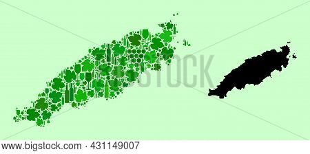 Vector Map Of Tobago Island. Collage Of Green Grape Leaves, Wine Bottles. Map Of Tobago Island Colla