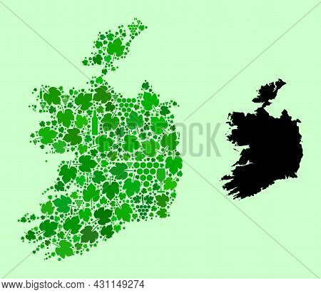 Vector Map Of Ireland Republic. Collage Of Green Grape Leaves, Wine Bottles. Map Of Ireland Republic