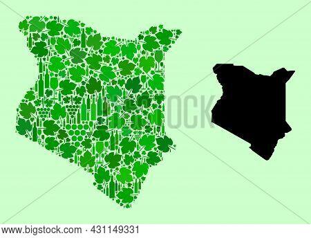 Vector Map Of Kenya. Collage Of Green Grape Leaves, Wine Bottles. Map Of Kenya Collage Designed From