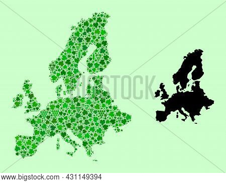 Vector Map Of Euro Union. Mosaic Of Green Grape Leaves, Wine Bottles. Map Of Euro Union Mosaic Compo