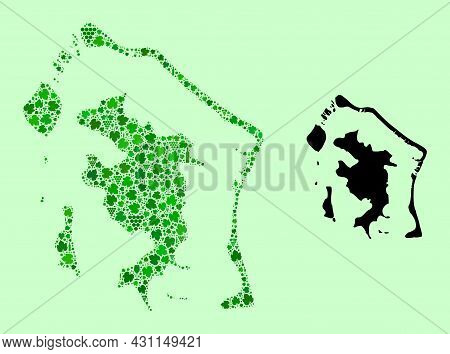 Vector Map Of Bora-bora. Mosaic Of Green Grapes, Wine Bottles. Map Of Bora-bora Mosaic Composed With