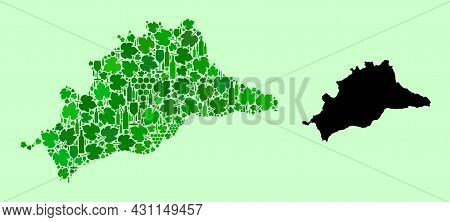 Vector Map Of Malaga Province. Collage Of Green Grapes, Wine Bottles. Map Of Malaga Province Collage