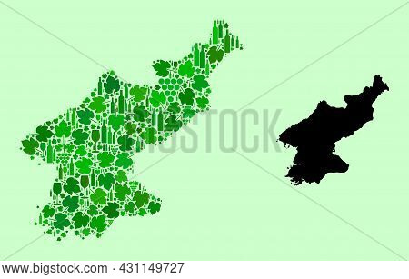 Vector Map Of North Korea. Collage Of Green Grapes, Wine Bottles. Map Of North Korea Collage Designe