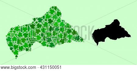 Vector Map Of Central African Republic. Mosaic Of Green Grape Leaves, Wine Bottles. Map Of Central A